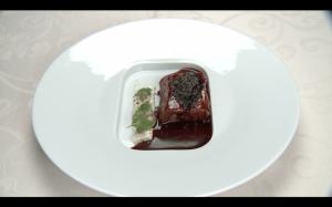 Chef Jose Morillo Tuna Milk Yuba and Red Wine Sauce